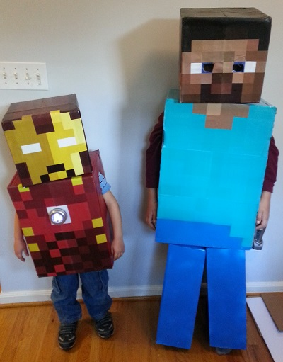 Minecraft Costumes Steve and Ironman