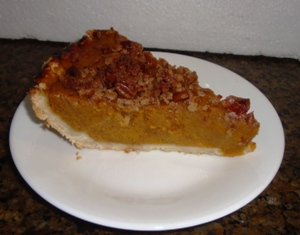 pumpkin pie with a caramalized pecan topping